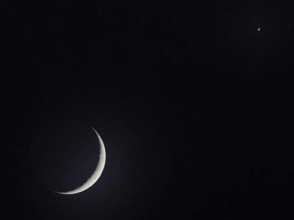 Luna creciente y Venus