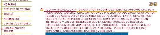 La web de la empresa de autobuses de Sevilla, hackeada por un usuario enfadado  (Imagen: TUSSAN)
