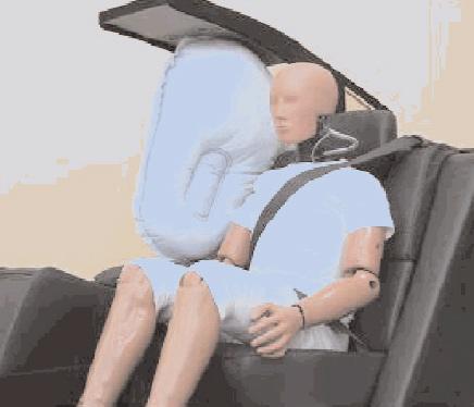 Airbag SRS central de asiento trasero desplegado.