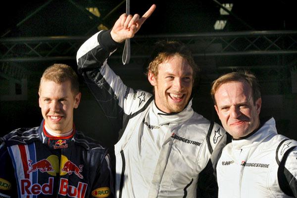 Sebastian Vettel, Jenson Button y Rubens Barrichello