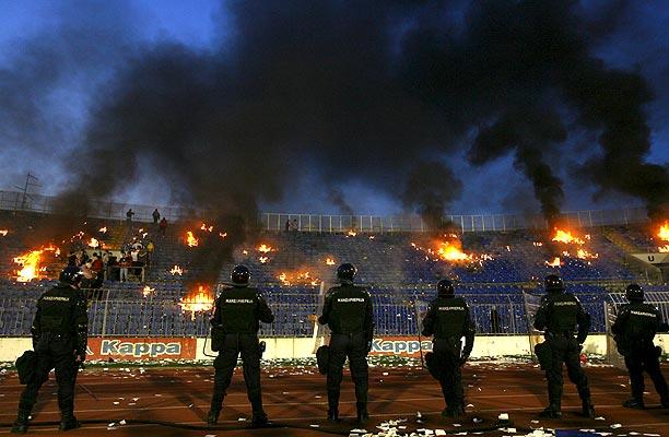 Grada en llamas en Belgrado