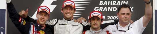 Button, Vettel y Trulli