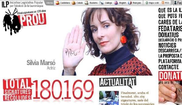 Web de la plataforma antitaurina Prou.