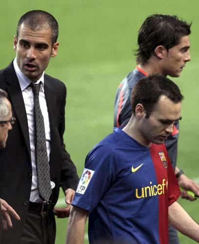 Iniesta con Guardiola