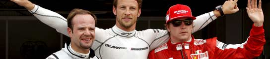 Barrichello, Button y Raikkonen