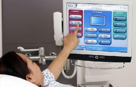 Pantalla táctil en un hospital