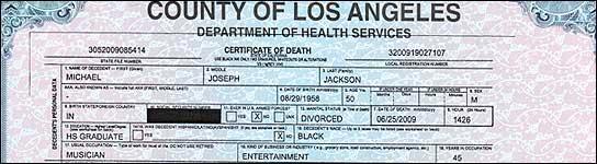 Certificado de defunción de Mihael Jackson