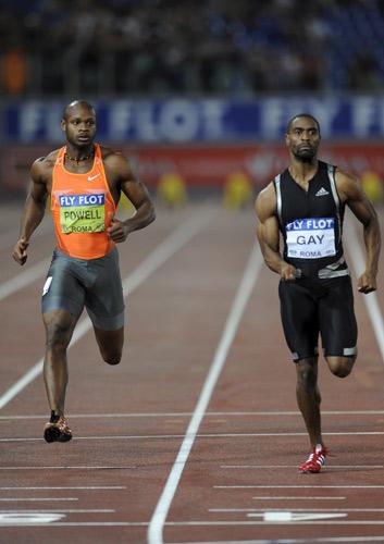 Asafa Powell y Tyson Gay