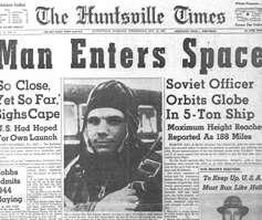 Portada de prensa de la época que recoge el viaje de Gagarin por el espacio.