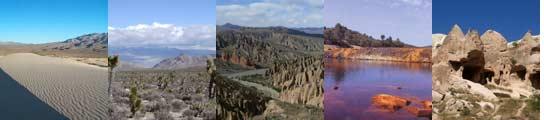 'Paisajes lunares' en la Tierra: Desiertos de Mojave y Nevada (EE UU), Valle de la Luna (Bolivia), Río Tinto (Huelva) y Capadocia (Turquía).