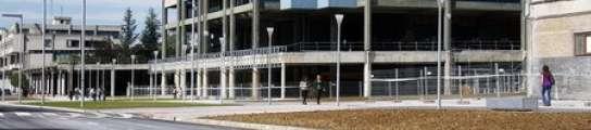Una joven pasea por el campus de la UPV en Leioa.