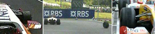 Alonso pierde una rueda