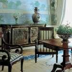 Mobiliario de ébano y mármol negro de estilo chinés de la habitación Jackson.