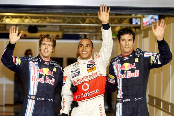 Lewis Hamilton, Sebastian Vettel y Mark Webber