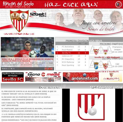 Web del Sevilla