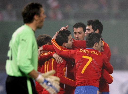 Villa celebra un gol