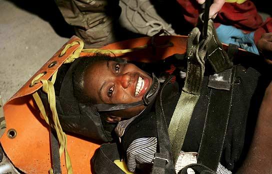 Hoteline Losama, rescatada en Haiti.