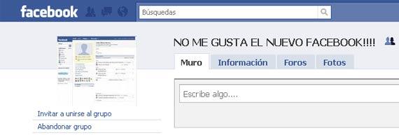 'No me gusta el nuevo Facebook'