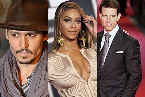 Johnny Depp, Beyoncé y Tom Cruise