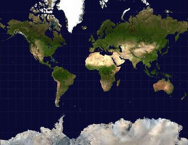 Mapa según la proyección Mercator