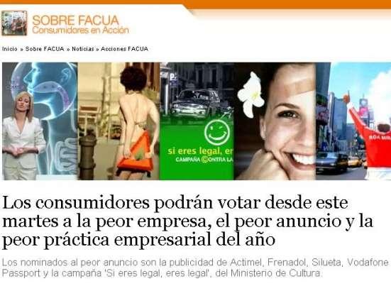 El peor anuncio, votación en  Facua