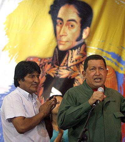 Evo Morales y Chávez