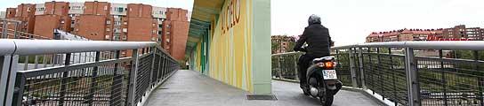La pasarela entre el barrio de Estrella y El Ruedo de Moratalaz