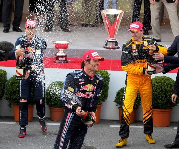 Podio de Mónaco. Podio de Mónaco. A Mark Webber, vencedor en Montecarlo, le acompañaron en el cajón Sebastian Vetter y Robert Kubica.