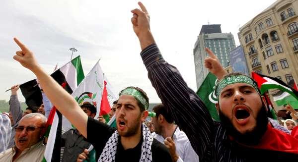Manifestación contra Israel en Turquía.