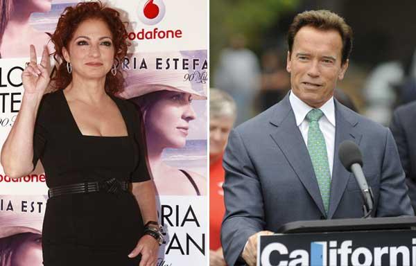 Gloria Estefan y Arnold Schwarzenegger