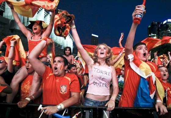 Celebración de la victoria de España