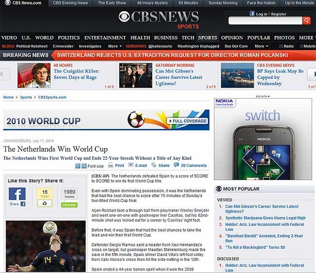 Noticia de la CBS