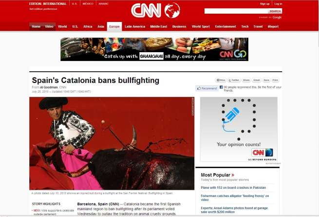 La noticia en la CCN. La prohibición de las corridas en la CCN, que titulaba en portada.