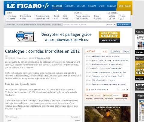 La noticia en Le Figaro. El francés Le Figaro también ha informado puntualmente y con todo detalle del debate y la posterior votación.