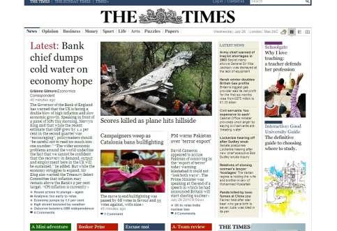 La noticia en The Times. La segunda noticias más importante dee la mañana para The Times fue la votación de la prohibición.