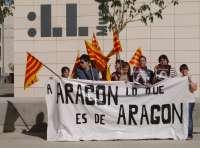 Chobentú Aragonesista desarrolla una protesta en Lleida para la devolución de bienes aragoneses depositados en Cataluña