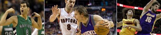 Calderon (Raptors), Nash (Suns) y Varejao (Cavaliers)