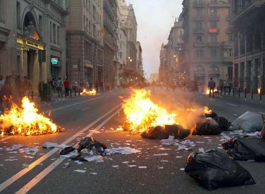 Disturbios en la huelga general