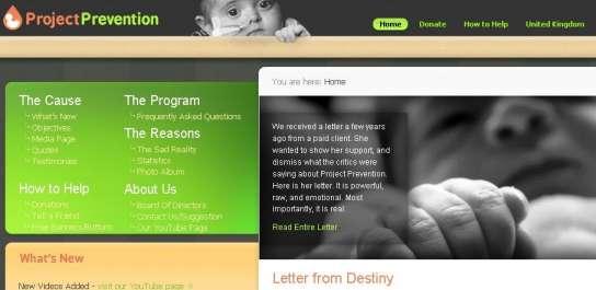 Web de la ONG estadounidense Project Prevention.