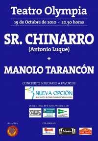 Sr.Chinarro y Manolo Tarancón actúan este martes en el Teatro Olympia de Valencia en beneficio de Nueva Opción