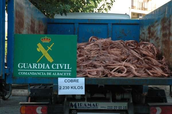Siete detenidos por el presunto robo de 2.600 kilos de cobre en las provincias de Albacete y Murcia