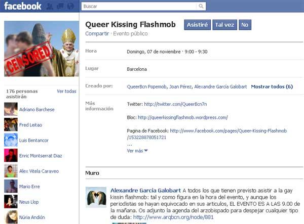 Gays y lesbianas acusan a Facebook de censura y llaman a besarse ante el Papa