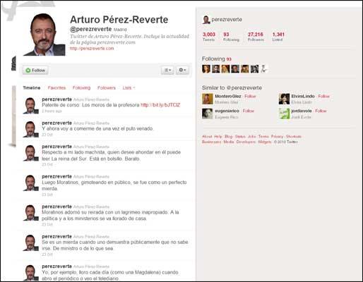 La cuenta de Twitter de Pérez-Reverte