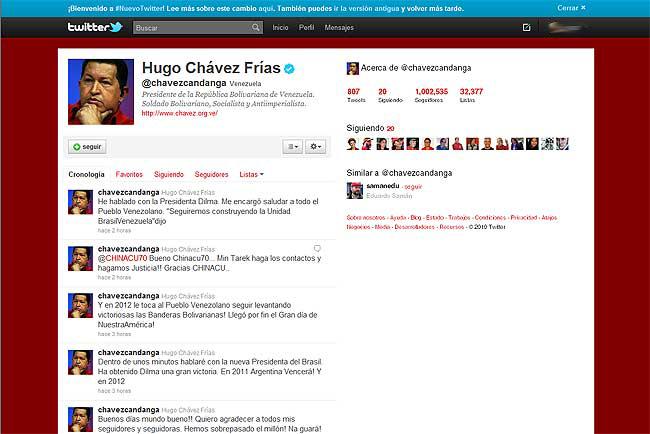 El Twitter de Chávez llega al millón de seguidores, entre algunas críticas
