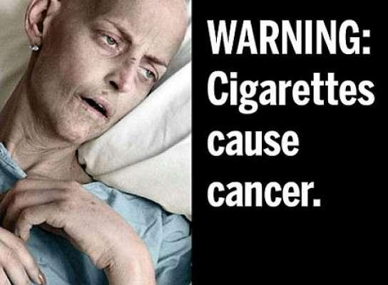 Una de las imágenes que llevarán las cajetillas de tabaco en EE UU