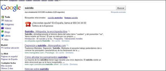 """Al escribir """"suicidio"""" en Google, el buscador muestra un teléfono de ayuda"""