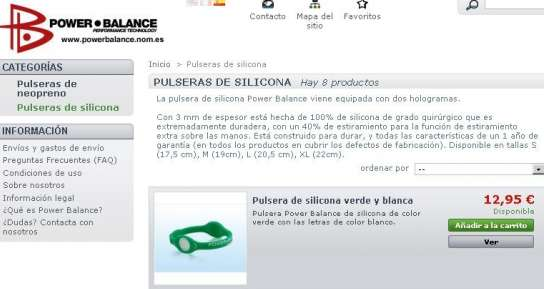 Página web de Power Balance.