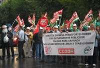 Los trabajadores de Transportes Rober se manifiestan este viernes contra la subcontratación de líneas de bus