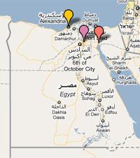 <p>Alejandr�a, El Cairo y Suez, las tres ciudades egipcias donde se est�n produciendo las revueltas.</p>