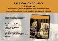 El libro sobre la recuperación de la memoria histórica 'Llerena 1936' se presenta este miércoles en Mérida